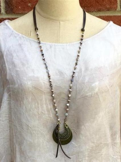 Adjustable Long Necklace with Primitive Moon Pendant