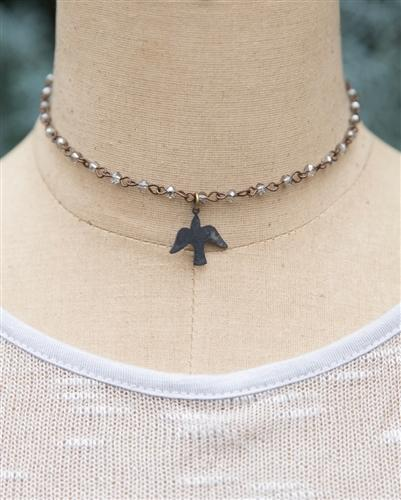 Dove Beaded Chain Choker