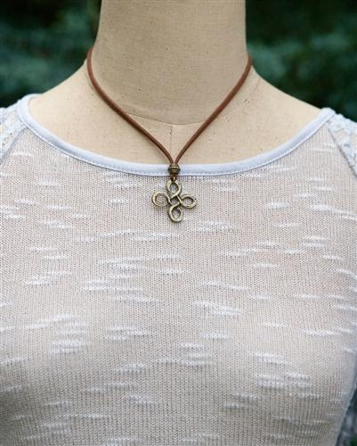 Suede Necklace with Infinity Knot Pendant