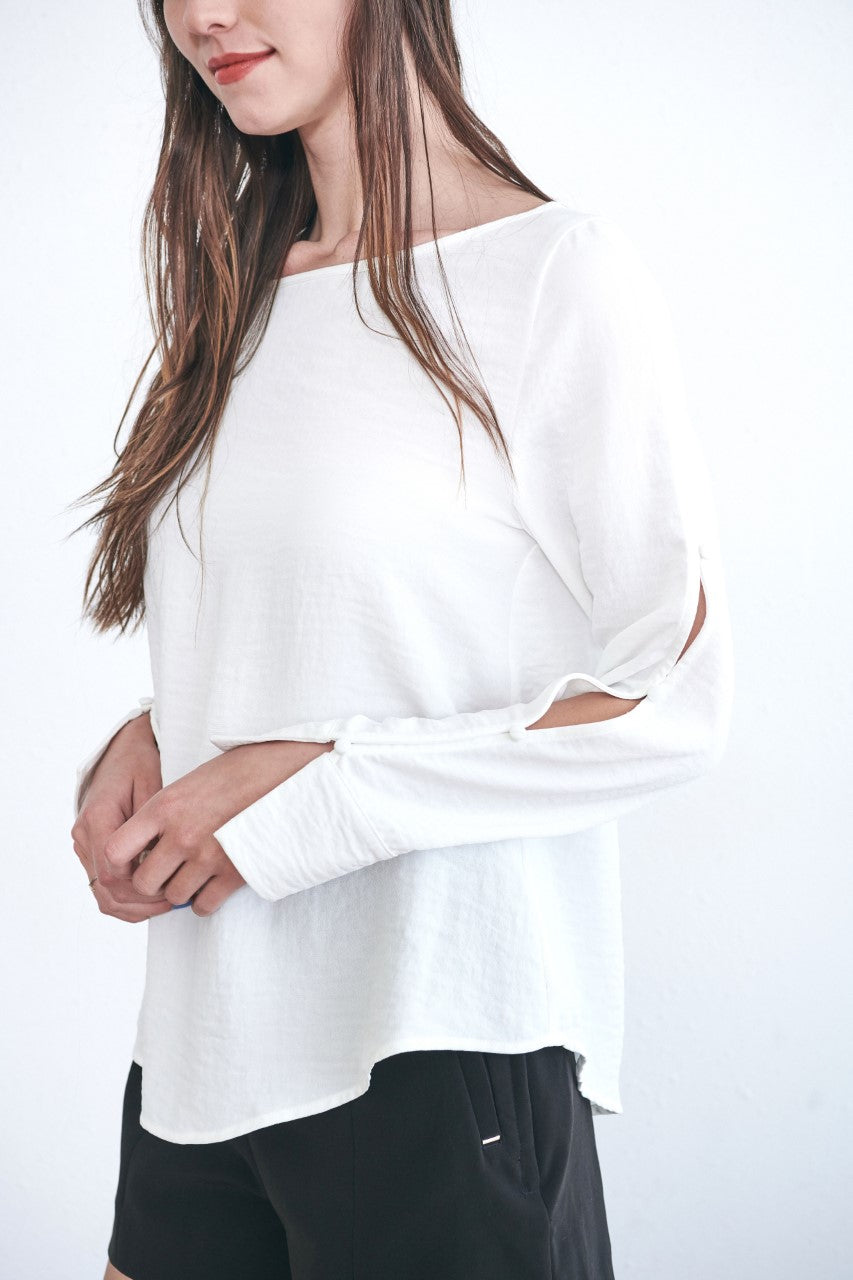 White Button Up Sleeve Blouse