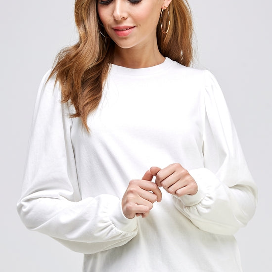 Ivory French Terry Puff Sleeve Sweatshirt