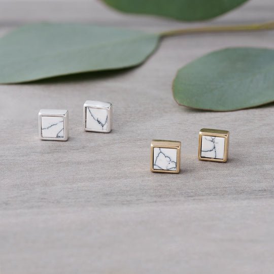 Boxy Stud Earrings with Howlite