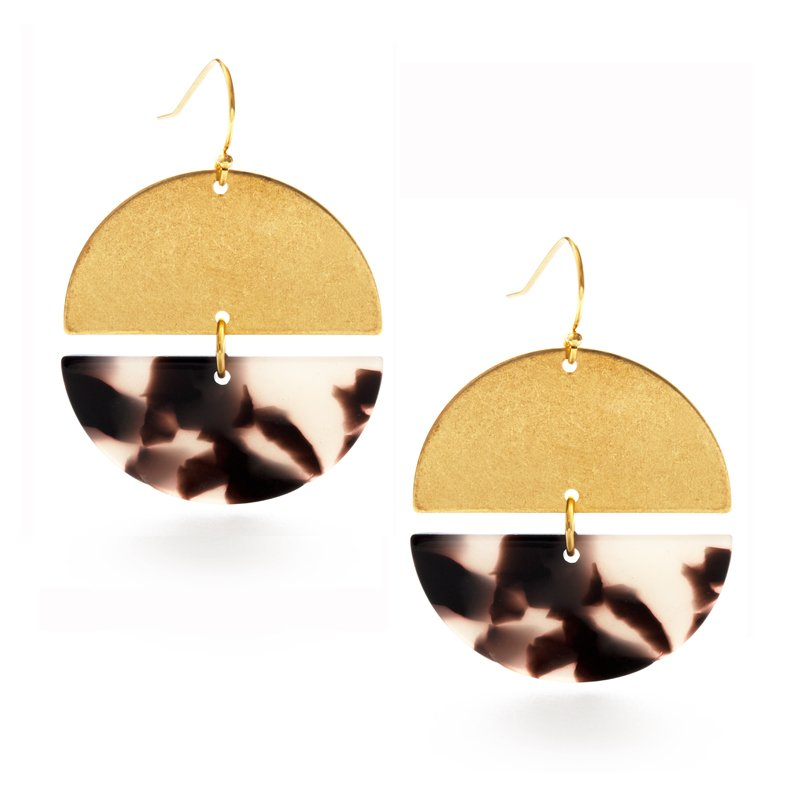 Tortoise Shell Semicircle Earrings