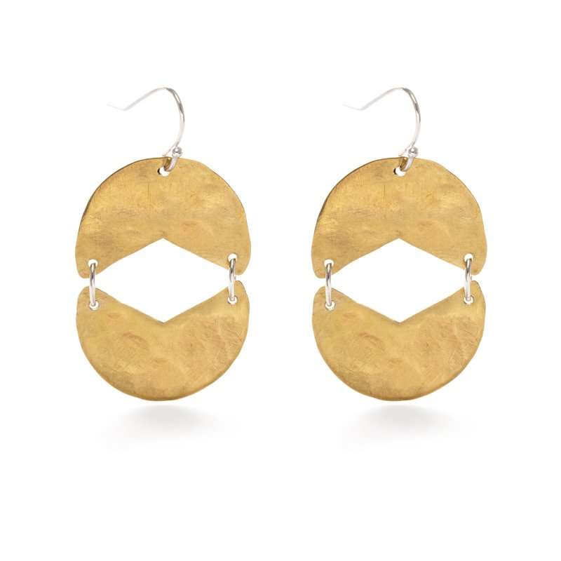 Reflection Earrings in Brass and Sterling Silver