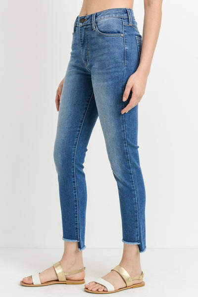 Medium Wash Denim Crop Fray Step Hem Jeans