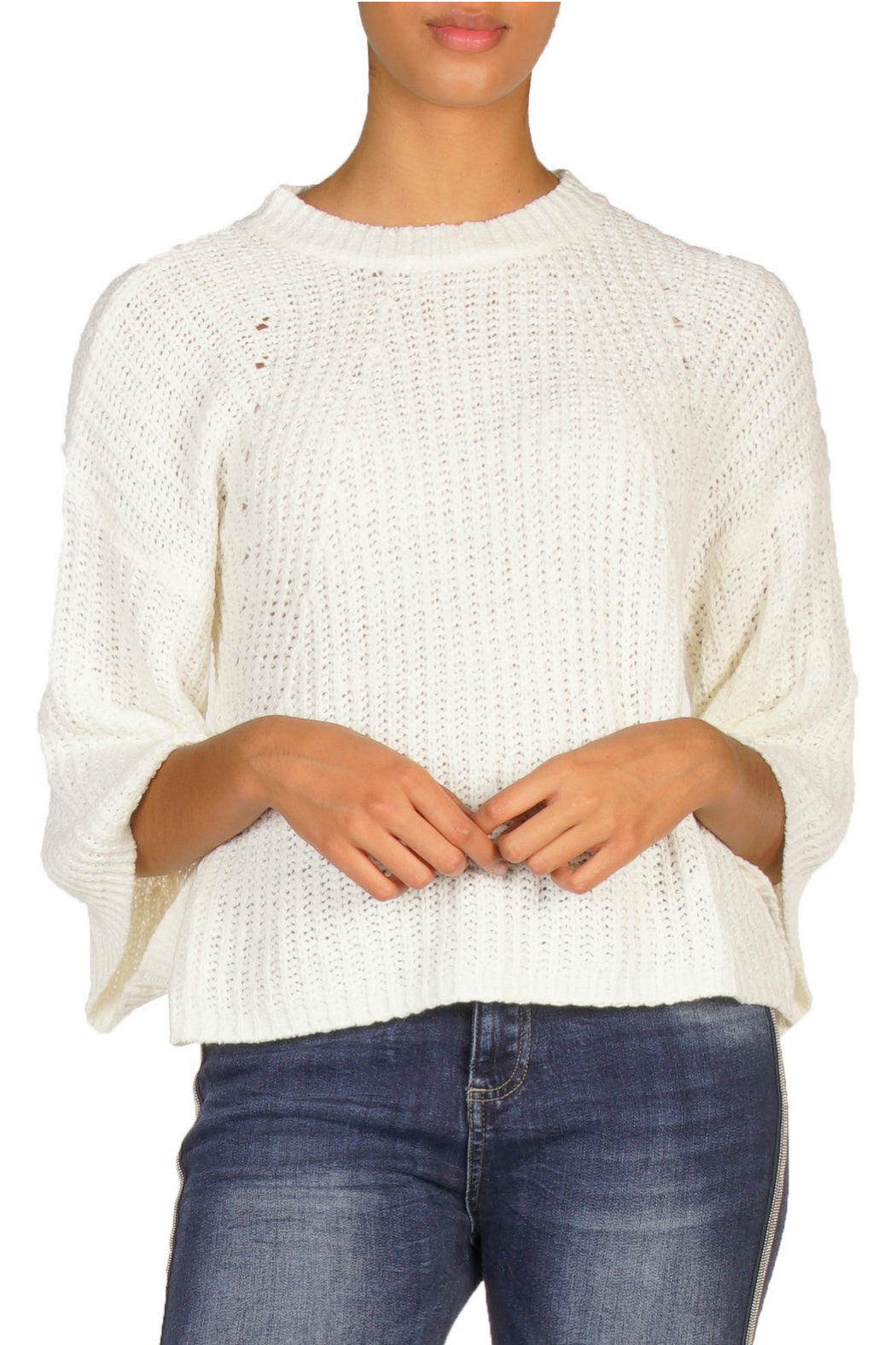 Cropped Sweater with Bell Sleeves