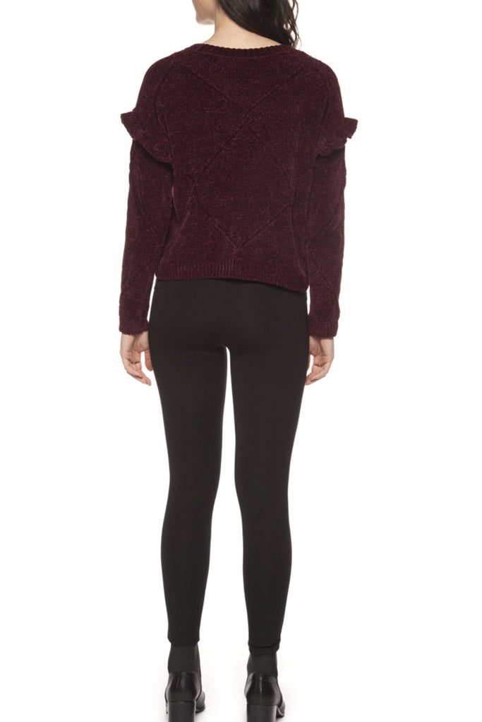 Burgundy Chenille Ruffle Trim Sweater