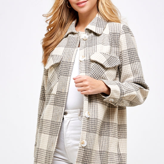 Tan Plaid Flannel Button Down Jacket
