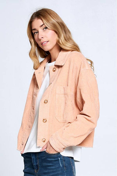 Blush Cropped Corduroy Jacket