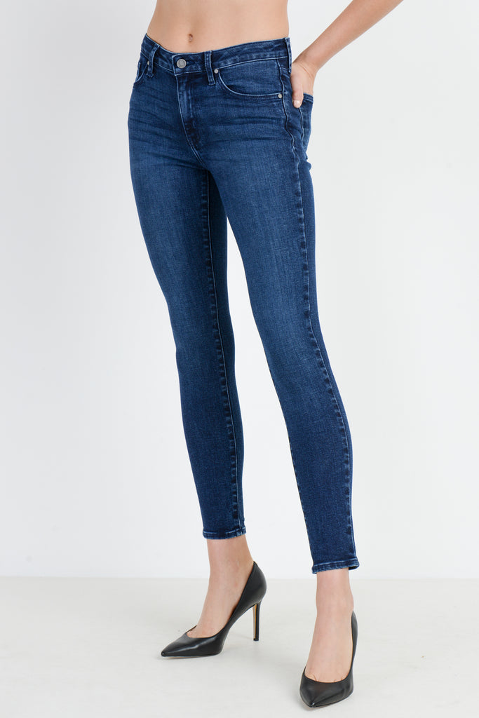 Mid Rise Dark Denim Stretch Skinny Jeans