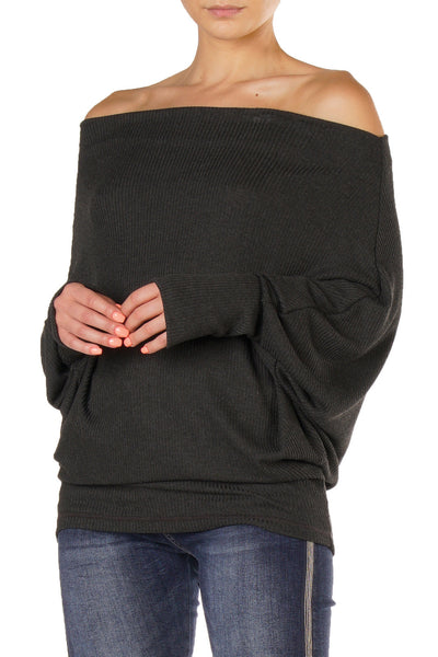 Charcoal Grey Off the Shoulder Top with Long Dolman Sleeves