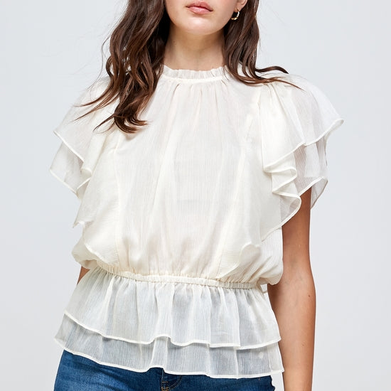 Mock Neck Sheer Flare Sleeve Top