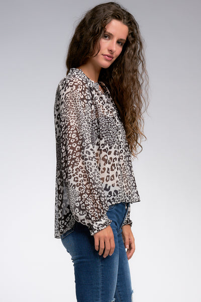 Black and White Leopard Print Peasant Top