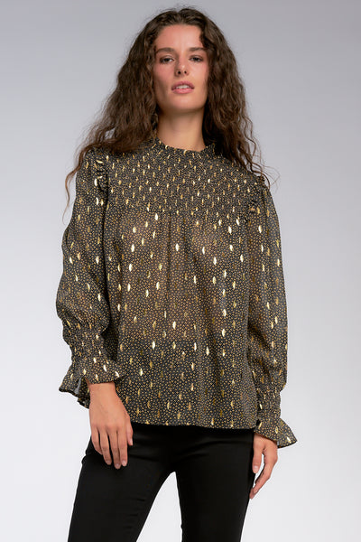 Long Sleeve Gold Print Smocked Neck Top