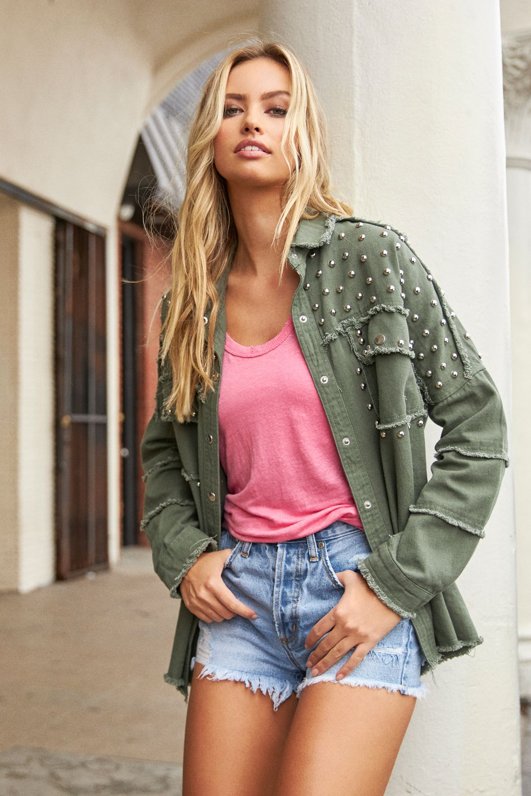 Olive Green Distressed Jacket with Silver Studs