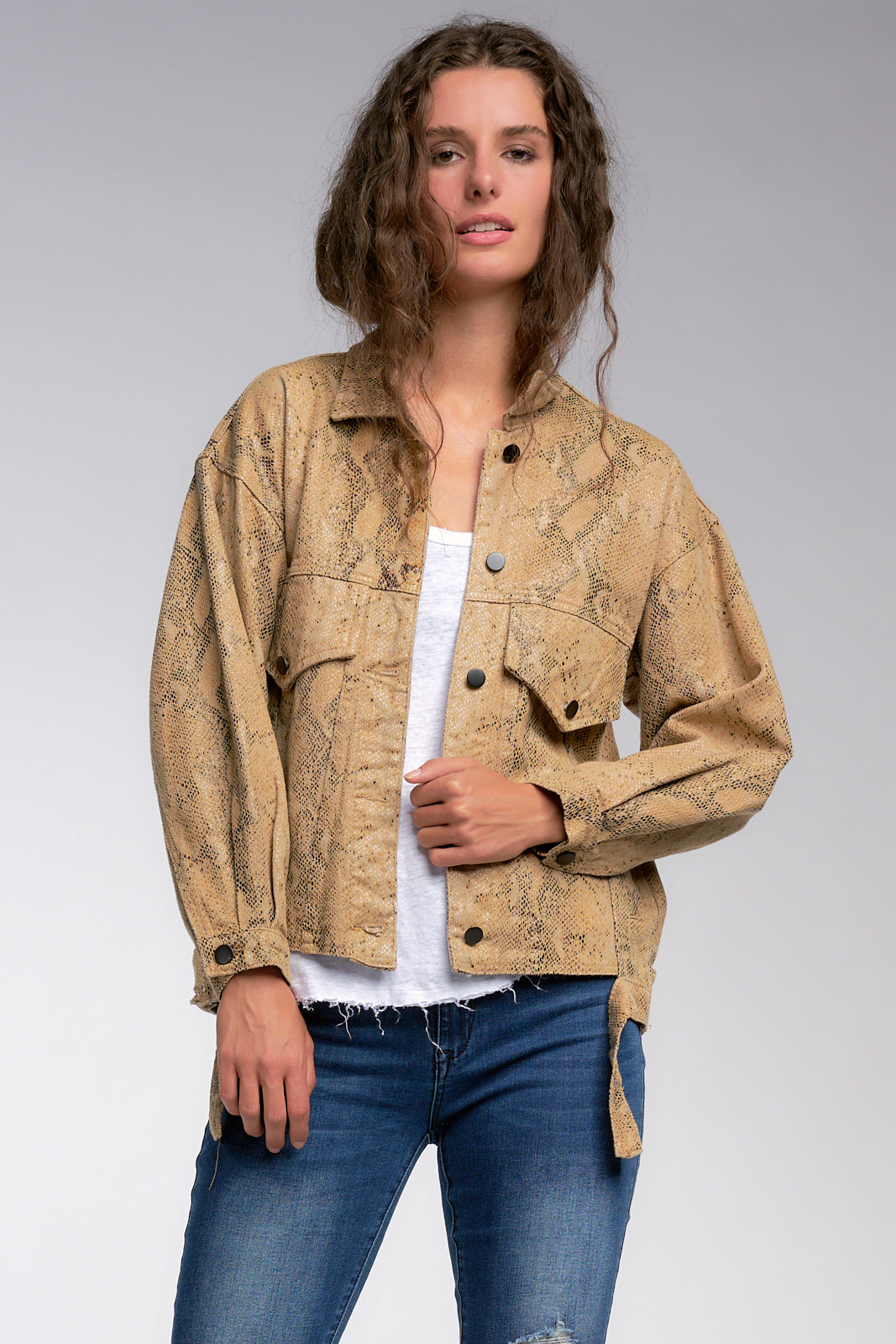 Tan Snake Print Oversized Jacket