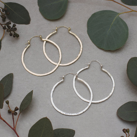 Primitive Large Hammered Metal Hoop Earrings