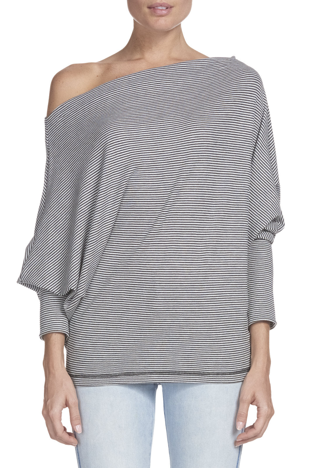 Striped Off the Shoulder Top with Long Dohlman Sleeves