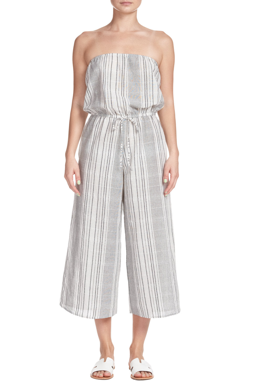 Natural and Black Stripe Strapless Jumpsuit