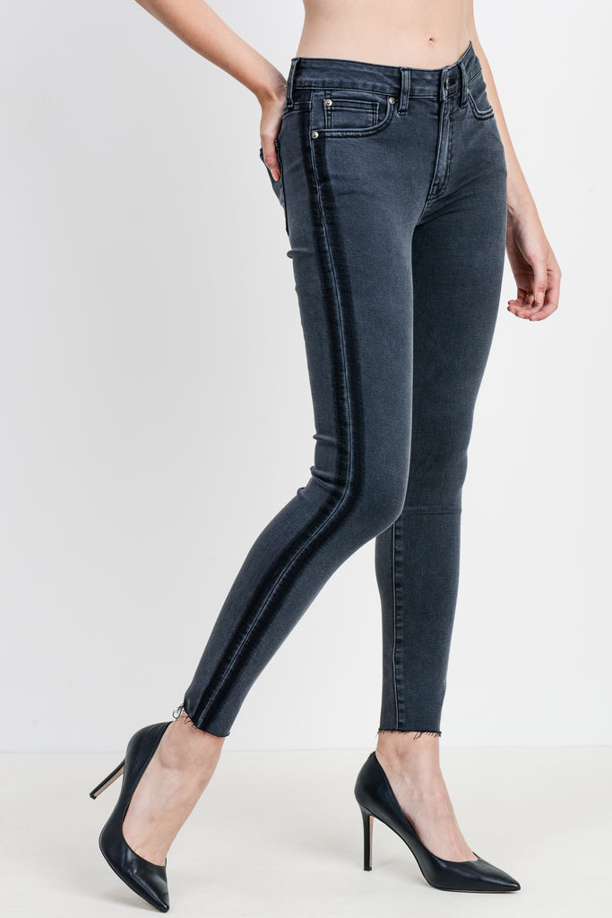 High Rise Washed Black Skinny Jeans with Shadow Stripe