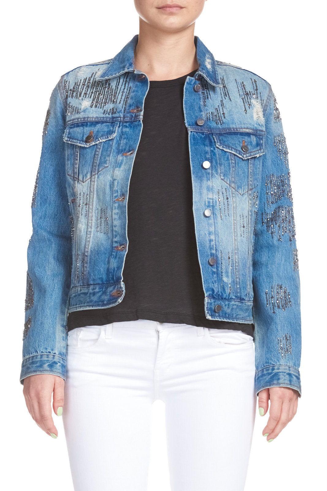 Denim Jacket with Bead Accents
