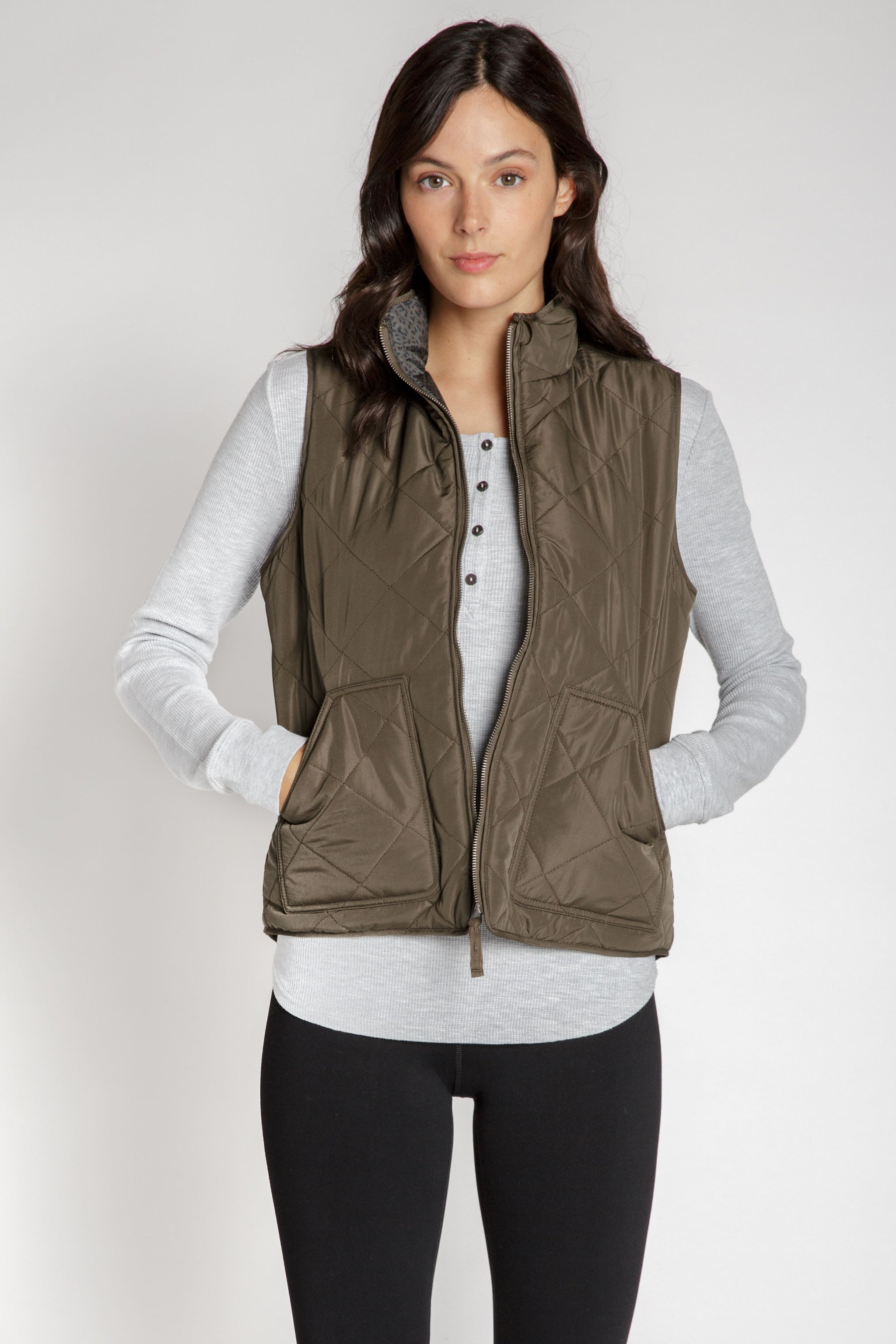 Olive Green Quilted Vest