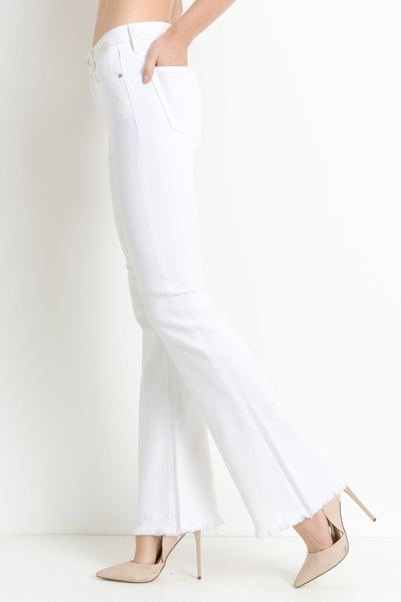 High Rise Frayed Hem Flare