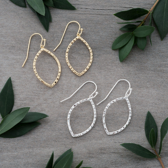 Paisley Earrings (Medium Hammered Oval)