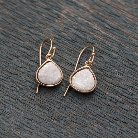 Glimmer Hook Earrings in Gold/White