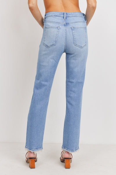 Light Denim High Rise Straight Jeans
