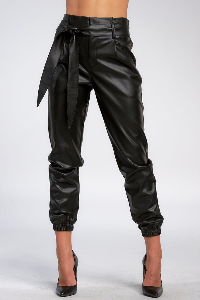 Black Faux Leather Pleated Pants with Tie Belt