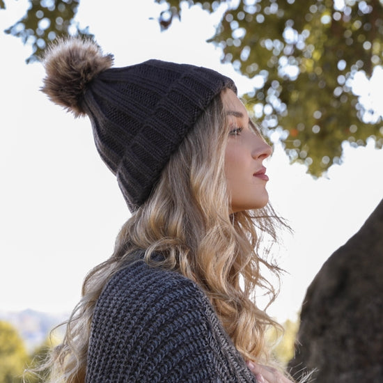 Ribbed Faux Fur Pom Pom Beanie