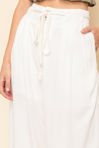 High Waisted Ivory Wide Leg Pants