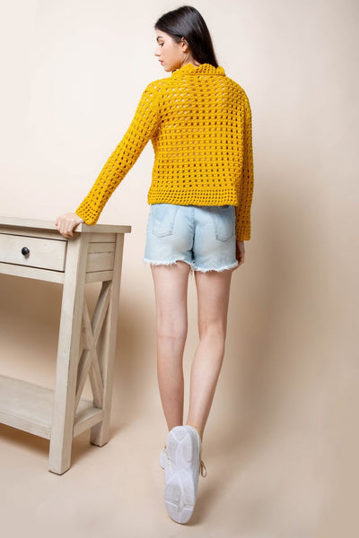 Mustard Yellow Crocheted Sweater