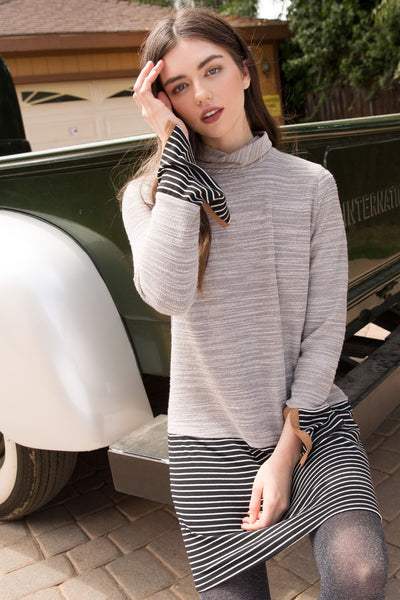 Grey Striped Sweater Dress
