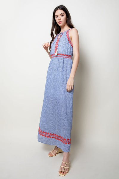 Blue Stripe Embroidered Halter Maxi Dress