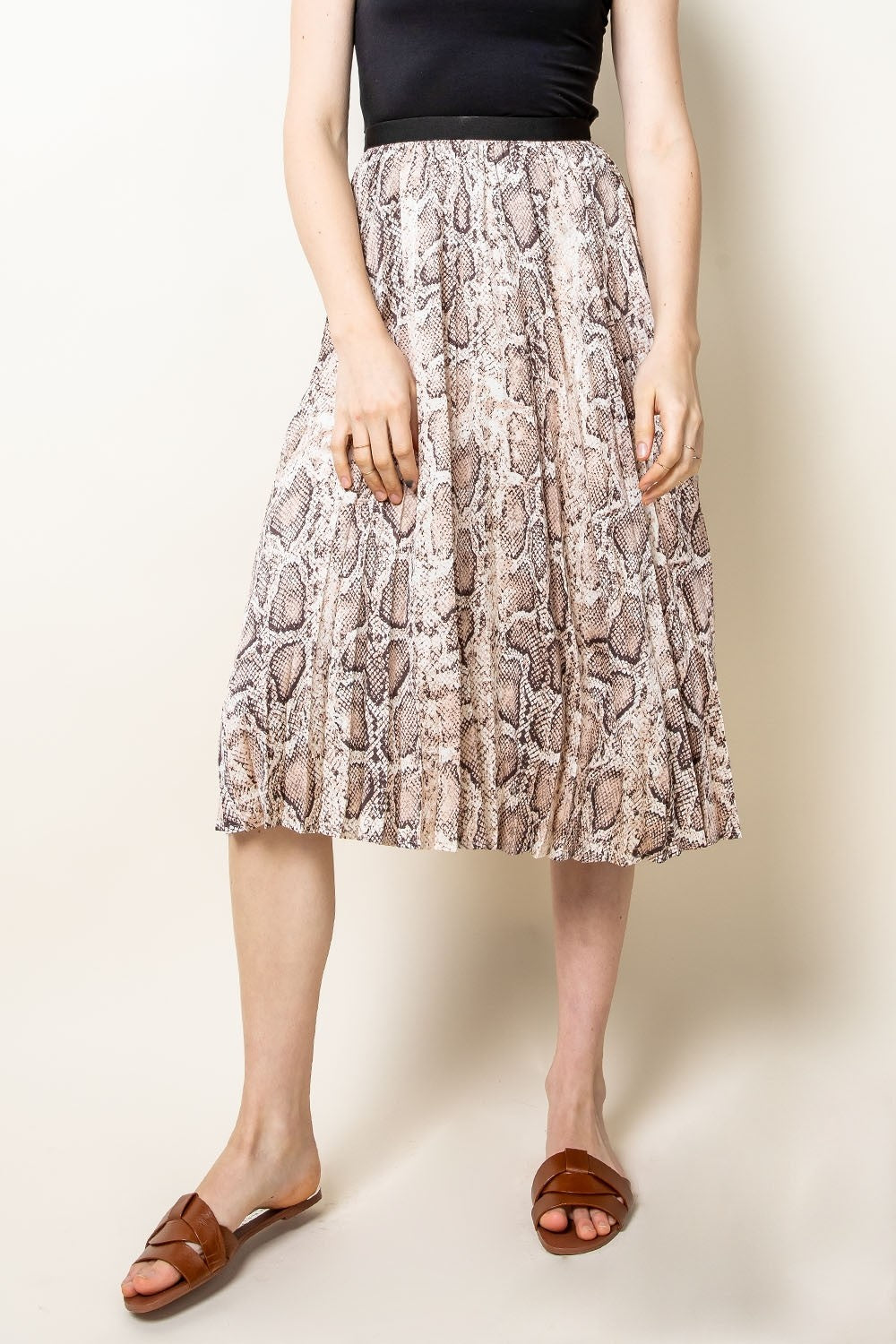 Snake Skin Pleated Midi Skirt
