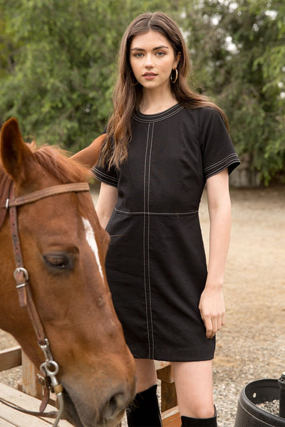 Black Short Sleeve A-Line Dress