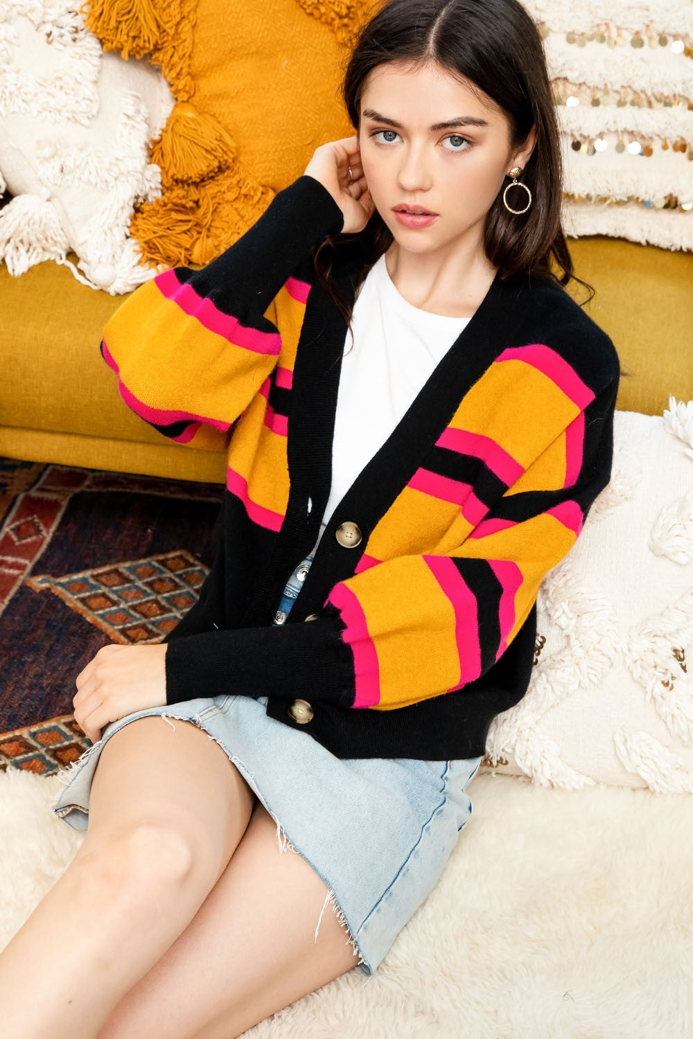 Black Striped Cropped Button Up Cardigan