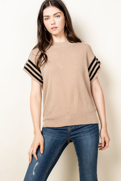 Short Sleeve Ribbed Knit Sweater Top