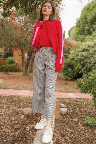 Plaid Wide Leg Ankle Pants