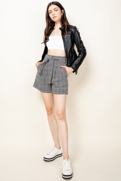 Black and White Plaid High Rise Shorts