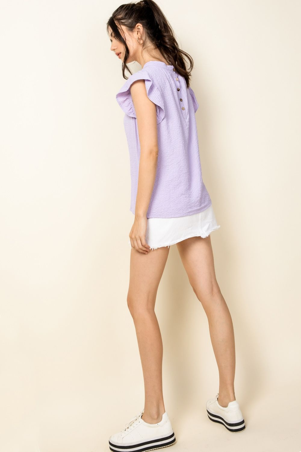 Lavender Flutter Sleeve Top