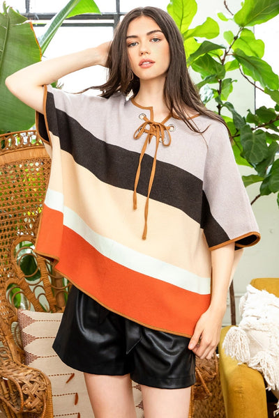 Colorblocked Striped Lace Up Poncho