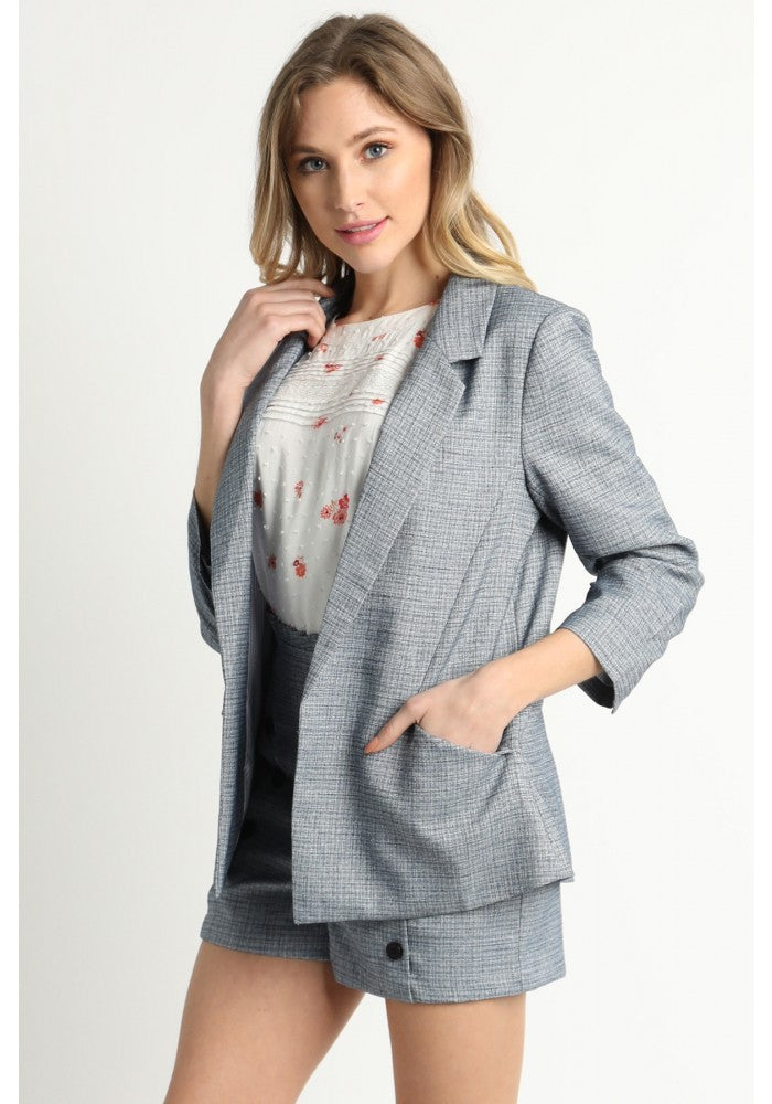 Blue Three Quarter Sleeve Blazer