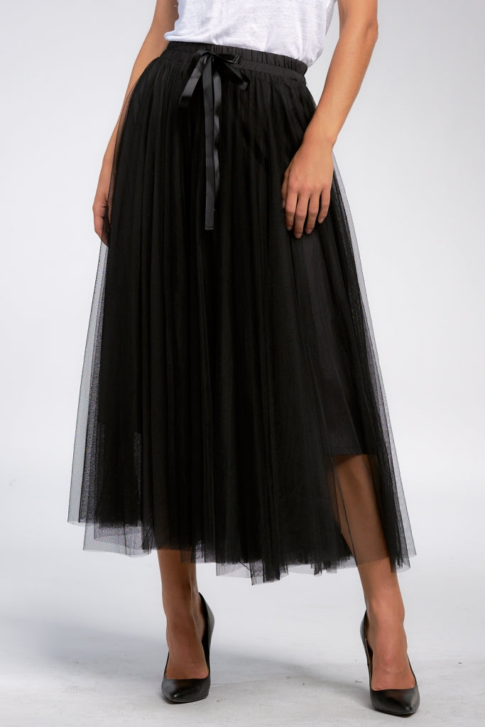 Black Tulle Skirt with Tie Waistband