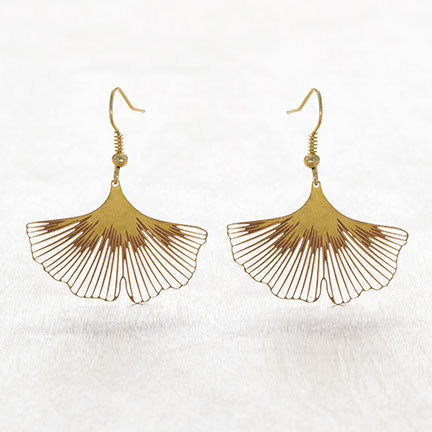Gold Ginkgo Biloba Earrings
