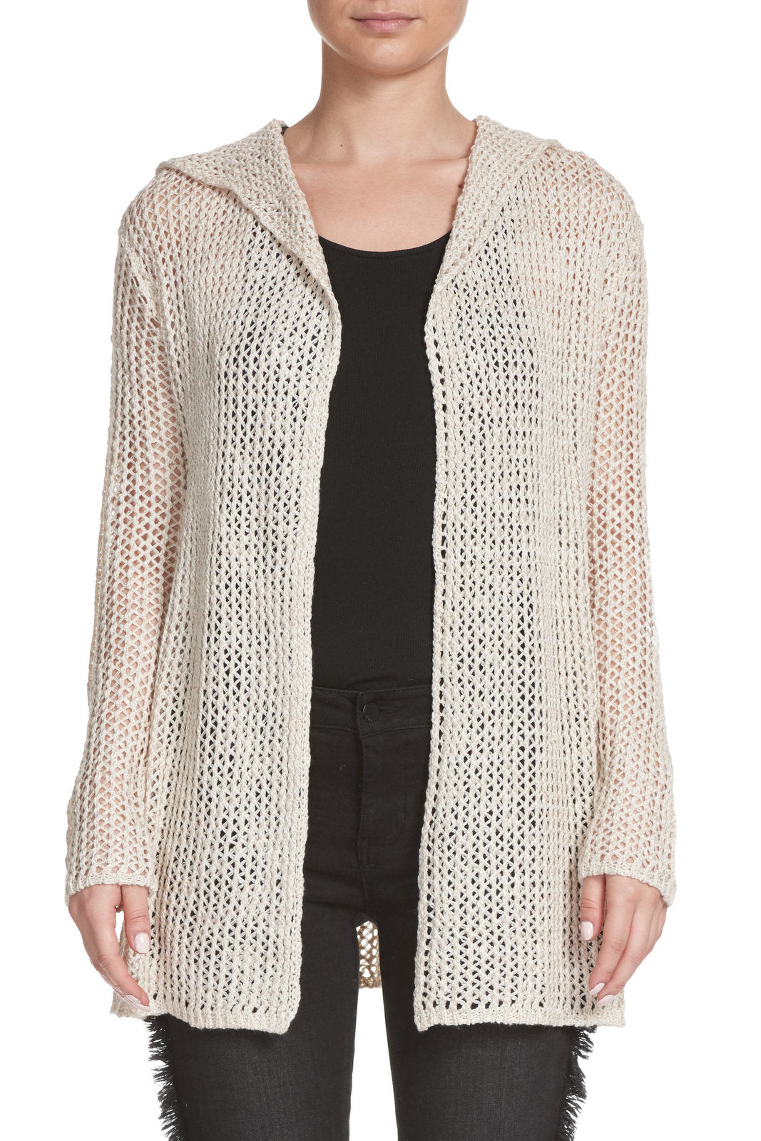 Natural Washed Hooded Cardigan