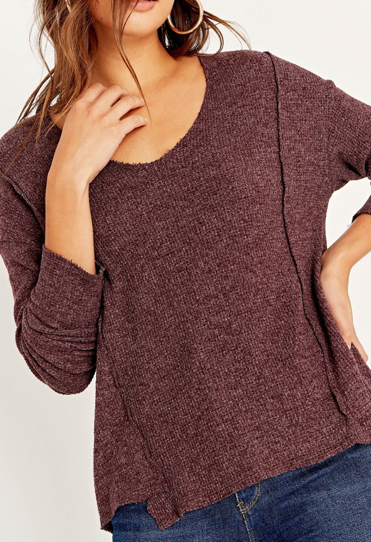 Berry Burgundy Scoop Neck Thermal Top