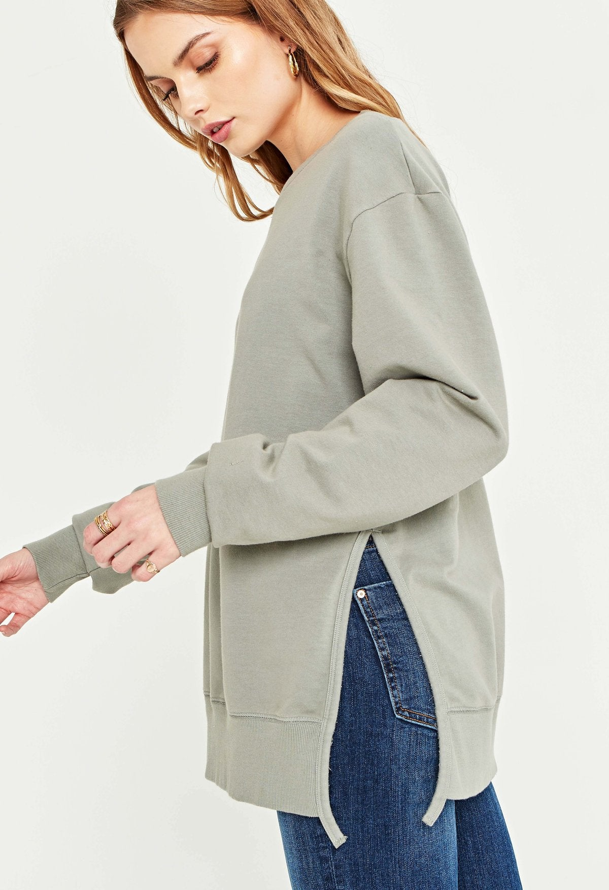 Sage Green Side Slit Crew Sweatshirt